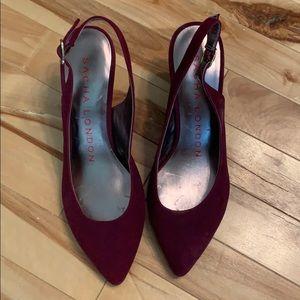 Sacha London velvet purple sling backs size 6